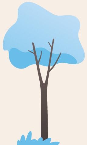 arbre bleu clair