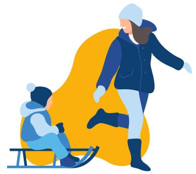 Mère avec enfant en traîneau
