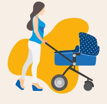 Femme avec bébé en poussette