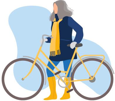Femme manteau vélo