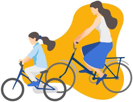 Mère et fille en vélo