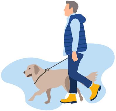 homme avec chien