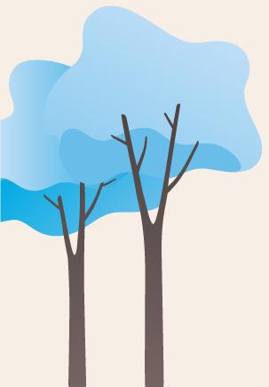 arbre Bleu Fond Beige
