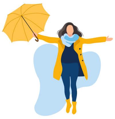 Femme manteau parapluie