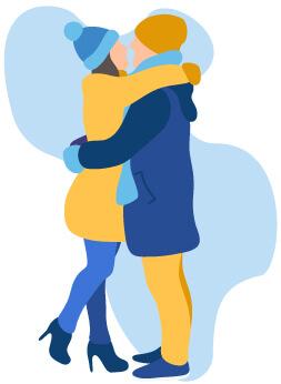 homme femme couple amoureux hiver